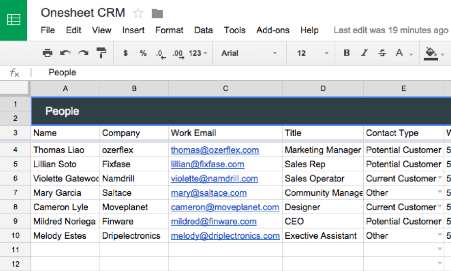 quick access to your customer information onesheet crm